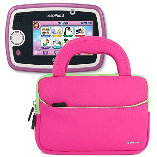 Evecase LeapFrog LeapPad 3 Kids Learning Tablet Neoprene Sleeve Case Slim Briefcase w/ Handle amp; Accessory Pocket / Ultra Portable Travel Carrying Case Sleeve Portfolio Pouch Cover - Hot Pink