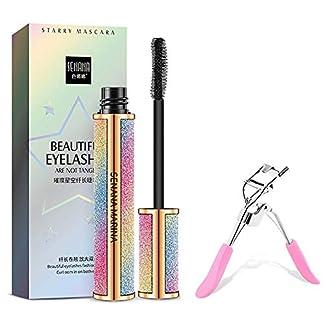 4D Silk Fiber Lash Mascara for Longer, Thicker, Voluminous Eyelashes,Natural Waterproof Smudge-Proof, All Day Full, Long, Thick, Smudge-Proof Eyelashes With Eyelash Curler
