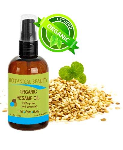Sesam Körper-Öl (Botanical Beauty Bio Sesam Öl, 100% PURE/natur/kalt gepresst. 113,4g 120ml. Für Gesicht, Haare und Körper.)