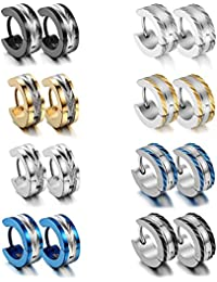 a0a76dfd4 Aroncent Men's Stainless Steel 8 Pairs Small Hoop Huggie Hinged Earrings  Set 4Mm ()
