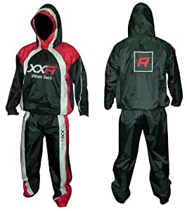 XXR Hooded Heavy Duty Sweat Suit Sauna Exercise Gym Suit Fitness Weight Loss Anti-Rip Hoodie Hoody S-XXL (2XL)