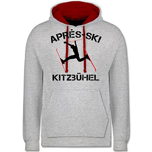 Après Ski - Apres Ski Kitzbühel - Kontrast Hoodie Grau Meliert/Rot