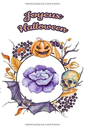 Carnet de Notes: Halloween - Petit journal personnel de 121 pages blanches avec couverture et pages sur le thème d'Halloween par Virginie Polissou