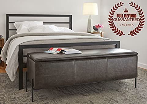 3FT Single Metal Bed Frame with 2 Headboard - Black - 90 x 190cm(Note: Mattress, pillow and sheet is not