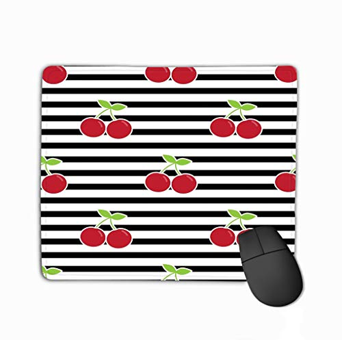 Mouse pad pattern cherries cherry black lines background horizontal stripes red berries steelserieskeyboard