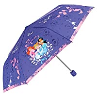 PERLETTI 50426 Disney Princess Folding Umbrella for Girls - Cinderella, Ariel, Jasmine - Lightweight Compact and Windproof - Pink and Purple - 7+ Years Old - Diameter 91 cm