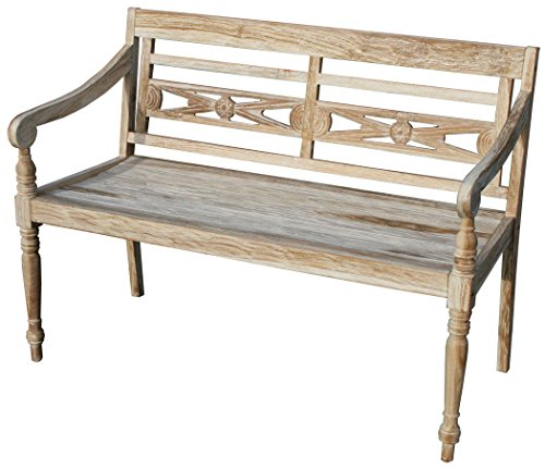 KMH, Teak 2-sitzer Gartenbank 'Harry' (115 cm) im Shabby Chic Stil - whitewashed (#102142)