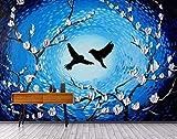 LONGYUCHEN Benutzerdefinierte 3D Seide Wandbild Tapete Ölgemälde Stil Abstrakte Magnolie Blume Geeignet Für Wohnzimmer Schlafzimmer Tv Hintergrund Wand Dekoration Wandbild,180Cm(H)×280Cm(W)