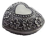 Happy Homewares Étain Antique plaqué métal c?ur Bijou boîte à Bijoux avec décoration Florale