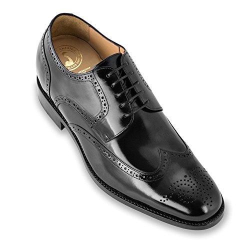 Masaltos Scarpe con Rialzo per Uomo Che Aumentano l'Altezza Fino a 7 cm. Fabbricate in Pelle. Modello Atlanta Nero
