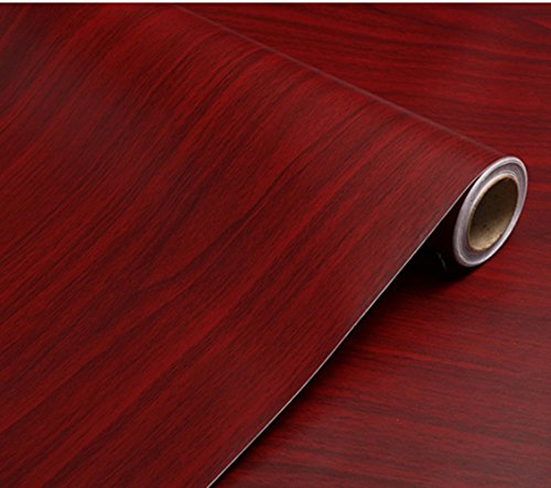 WDragon Autocollant PVC Contact Papier Rouge foncé Grain de Bois Comptoir Papier Meubles Armoires Armoire étagère Liner Papier Peint, 40 cm x 250 cm