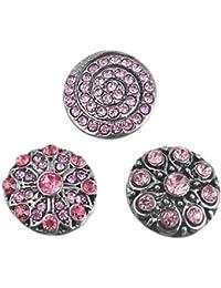 Souarts Mixte Bouton à Pression pour Bracelet Fleur Rose 5.5mm 20mm Lot de 3pcs
