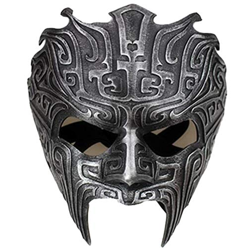 WLXW Halloween Half Face Resin Mask, Alte Chinesische Ritter Cosplay Maske, Kostümparty Maskerade Party Kostüme, Sammeln Lohnt Sich,Schwarz,Fullface (Alte Kostüm Meme)