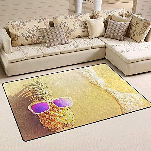 Ananas in der Sonnenbrille am Strand Innen- und Außenbereich Teppiche öffnen Moderne Teppich-Fußmatte Fußmatte