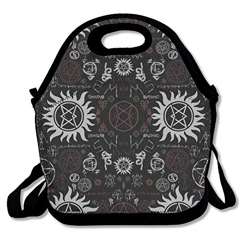 Supernatural Symbols Black Lunch Tote Bag Reusable Neoprene Cooler, Chinese Japanese Style Portable Lunchbox Handbag for Men Women Adult Kids Boys Girls -