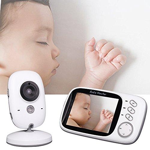 Vococal® Soins Baby Monitor Infant Vidéo Babyphones,sans Fil,Vision Nocturne Infrarouge,Affichage de la Température,Deux Voies Parler,3.2 Pouces LCD,Branchez l'UE