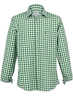 Almsach Herren Trachtenhemd grün-weiss kariert langarm von Gr. S-XXXL - Der Klassiker für alle Oktoberfeste und...
