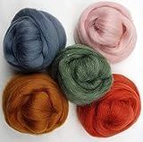 Feltro di lana–5colori da 10Gr.–fiaba lana per infeltrimento 50gr