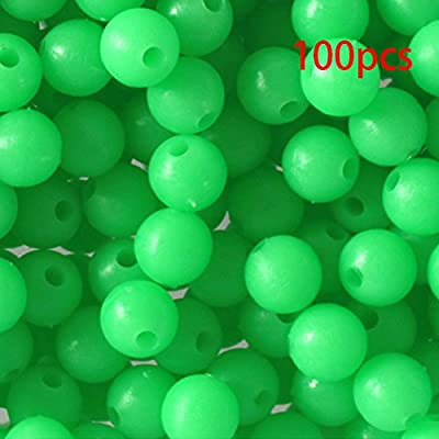 100Pcs 8mm Green Glow Fishing Beads, Glow in the Dark Round Luminous Beads Sea Fishing Lure Float Floating Tackle Tools by Behavetw