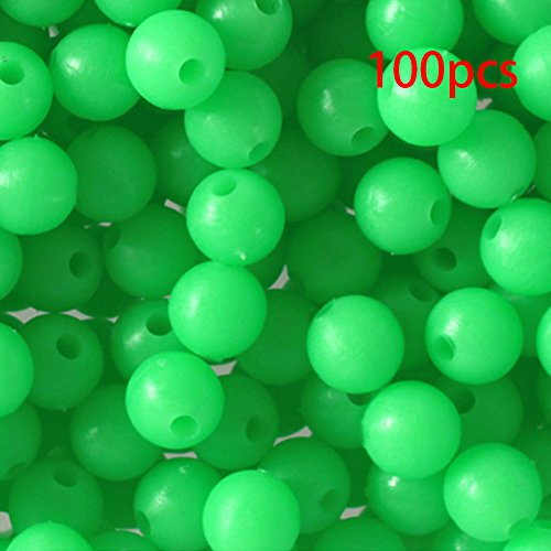 Morehappy7glow rig perline, 100pcs 8mm verde glow in the dark luminous tondo mare galleggiante pesca galleggiante tackle strumenti, fluorescente plastica beads