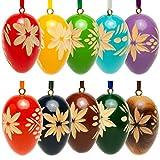 Sikora OD01 Holz Deko Ostereier mit geschnitzten Ornamenten, 10er Set mit gemischten Farben - erhältlich in 2 Größen, Farbe/Modell:Höhe je 4.2 cm - 10er Set mit gemischten Farben