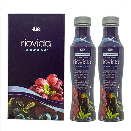 4Life Transfer Factor RioVida Tri-Factor Formula - 2 Flaschen à 500 ml - ORIGINAL - Super Fruchtsaft mit TRANSFERFAKTOR - - Colostrum und Säften (Açaí, Granatapfel, Blaubeere und Holunder) -