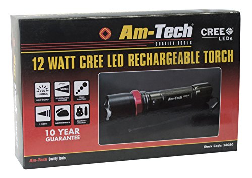 51iYQRGTUyL - BEST BUY# Am Tech S8080 12W Cree LED Rechargeable Torch Reviews