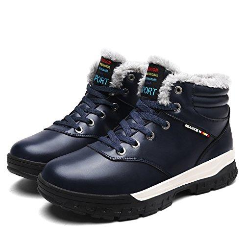 Eagsouni® Homme Bottes Lacet de Neige PU Cuir Chaud Imperméable Botte dhiver Boots Bleu