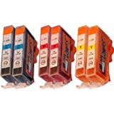 Start - 6 Cartouches d'encre compatibles avec puce avec CLI-526, Cyan, Magenta, Jaune pour Canon Pixma iP4850, iP4950, iX6550, MG5150, MG5250, MG5340, MG5350, MG6150, MG6250, MG8150, MG8240, MG8250, MX884, MX885