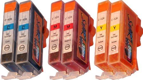 Start - 6 Ersatz Chip Patronen kompatibel zu CLI-526, Cyan, Magenta, Yellow für Canon Pixma iP4850, iP4950, iX6550, MG5150, MG5250, MG5340, MG5350, MG6150, MG6250, MG8150, MG8240, MG8250, MX884, MX885 -