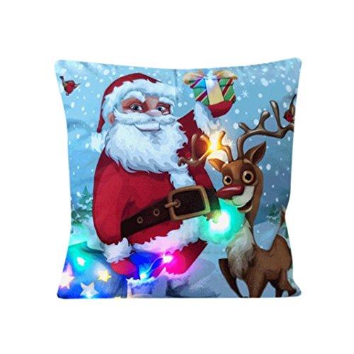 Xshuai 45cm * 45cm Die neue Farbe stilvolle heiße Verkauf abnehmbare und waschbare Lichter Weihnachtskissen LED Lichter Kissen kreative Druck Leinen Für Sofa, Café, Bibliothek, Buchladen, Party (A)