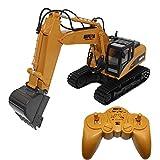 Ebilun RC Spielzeug 15 Kanal Volle Funktionale Fernbedienung Bagger Bulldozer Traktor Bau Spielzeug 2,4 Ghz Transmitter und Metall Schaufel für Kinder Gelb