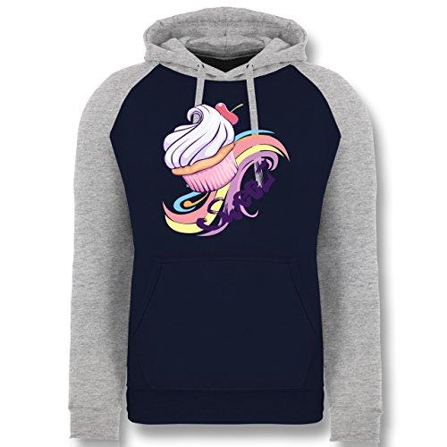 kuche-sweet-cupcake-l-navy-blau-grau-meliert-jh009-cooler-unisex-baseball-hoodie-fur-damen-und-herre