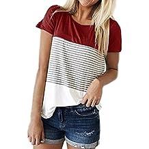 K-youth Blusas para Mujer, Camisa de Manga Corta para Mujer Rayas Casual Camiseta