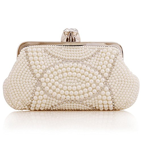ERGEOB® Femmes Pochette sac de soirée Sac à main fait à la main Chapelet Pochette Diamant Boucle Anneau Sac de soirée blanc