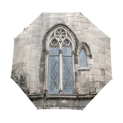 Duilly ombrello automatico apri/chiudi,vecchia parete di pietra d'annata tradizionale della finestra antica di stile gotico,ombrello pieghevole pieghevole antivento,leggero e compatto