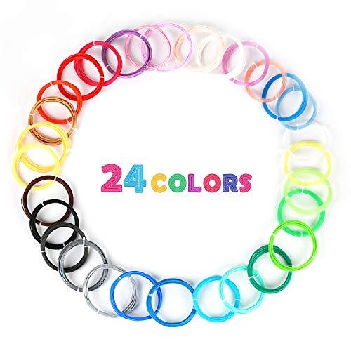 MKOEM Filamento de pluma 3D, Materiales de impresión 3D de filamento PLA 24 Colores 1,75MM 3M (10ft) cada color Aptos Para la Mayoría de la Pluma de la Impresora 3D