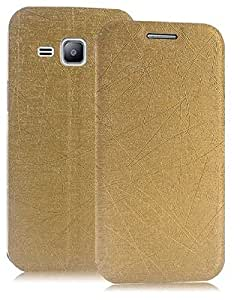Heartly Premium Luxury PU Leather Flip Stand Back Case Cover For Samsung Galaxy J1 2015 J100F - Hot Gold