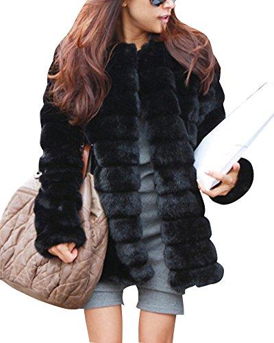 Maniche lunghe giacche cappotti outwear donne parka faux fur pelliccia ecologica cappotto giacca in pelle cappotto nero m