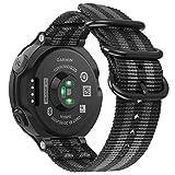 Fintie Armband für Garmin Forerunner 235/220 / 230/620 / 630 / 735XT Smart Watch - Nylon Uhrenarmband Sport Armband verstellbares Ersatzband mit Edelstahlschnallen (Schwarz/Grau)