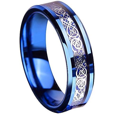 queenwish 6mm blu anello in carburo di tungsteno anello Celtico Drago Blu Fibra di carbonio Inlay Mens Wedding Band Jewelry