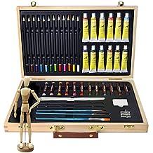Artina Leonardo - Set de pintura (45 pzas.) - Maletín con colores acrílicos