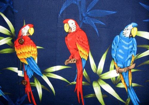 P.L.A. | Original Camicia Hawaiana | Signori | S - 4XL | Maniche Corte | Tasca Frontale | Hawaii Stampa | Palme | Pappagallo | Blu Blu