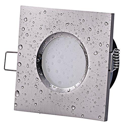 Bad Einbaustrahler IP65 QUADRATISCH Farbe: Edelstahl gebürstet 230Volt GU10 Fassung (ohne Leuchtmittel) für LED und Halogenleuchtmittel 49 - 51mm (Material: Aluminium | wasserdicht und rostfrei)