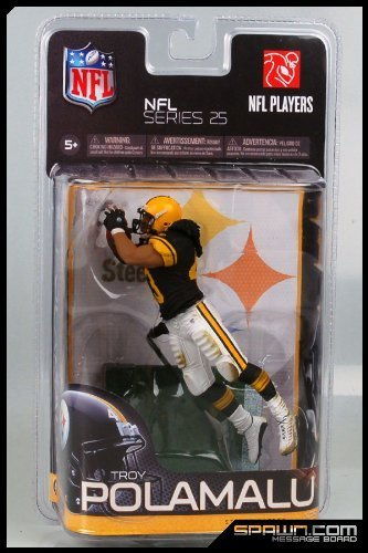 ports Picks Series 25 Exclusive Action Figure Troy Polamalu (Pittsburgh Steelers) Black Jersey Retro Uniform by McFarlane Toys (Steelers Football-uniform)