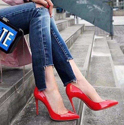 KHSKX-Punta Fine Con Tacchi Alti Scarpe Matrimonio Unico Di Scarpe Donna In Luce Delle Scarpe Da Donna Ragazza Nuziale Red 40 40