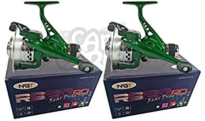 2x Match Coarse & Spinning Fishing Reel With Rear Drag Pre Loaded With Clear 8lb Line Made By NGT by Carp Corner