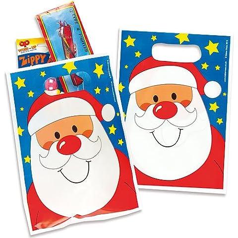 Comodi sacchetti bottino in plastica di Babbo Natale (confezione da 30)
