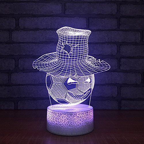BDQZ Hut Fußball Nachtlampe Acrylbrett 3d Leuchten Neue Spezielle Schlafzimmer Großhandel Led Nachtlicht Led Usb Kinder Lampe