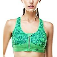 Yvette donna ad alto impatto zip frontale yoga reggiseno sportivo Athletic # 080136, donna, Green, UK:38C